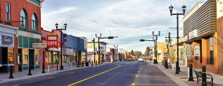 Wetaskiwin Alberta city street.