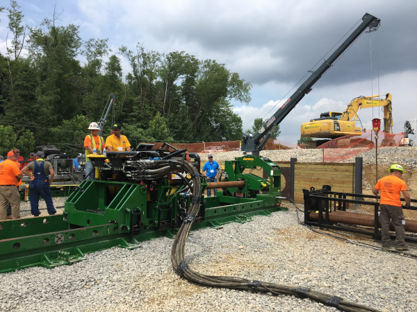 Barbco Inc demo day with equipment set up for drilling a tunnel.
