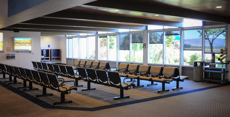 Crater Lake-Klamath Regional Airport inside terminal lobby.
