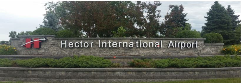 Hector International Airport sign.