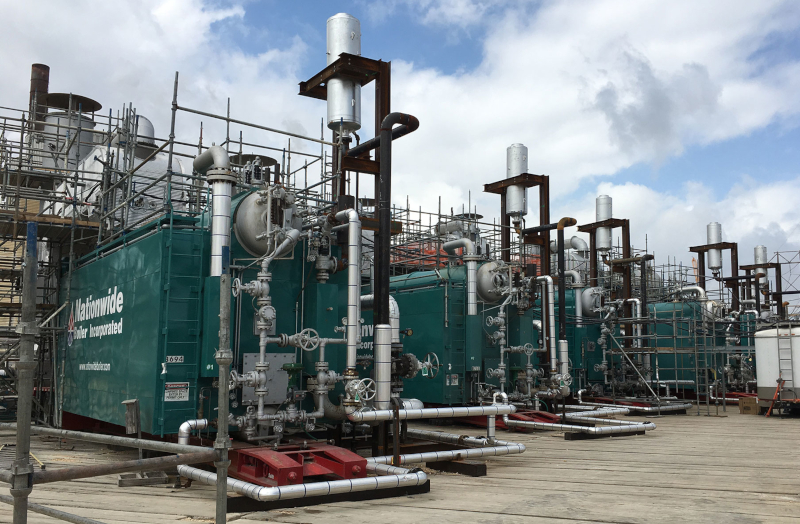 Nationwide Boiler Inc Five 75Kpph Superheat Rental Boilers with Urea Based SCRs Installed at Refinery.