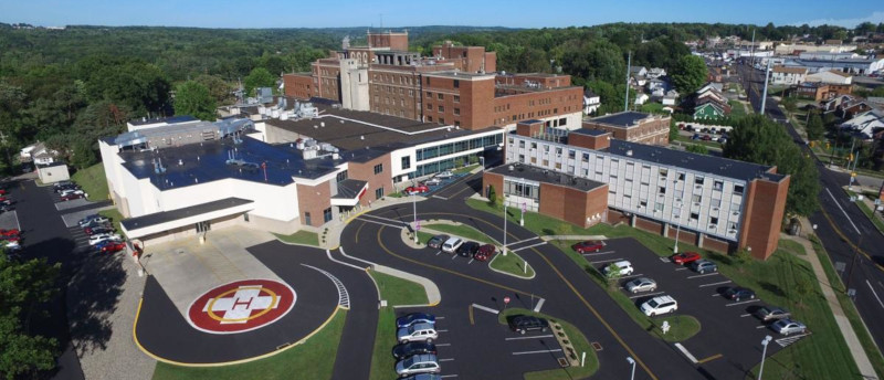 New Castle, Pennsylvania hospital aerial view.