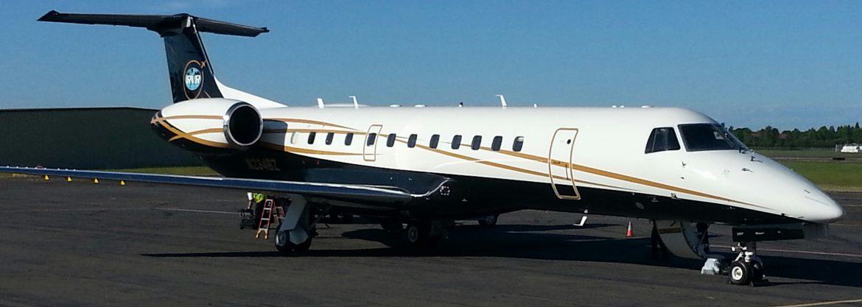 Salem Municipal Airport, business jet on the runway.