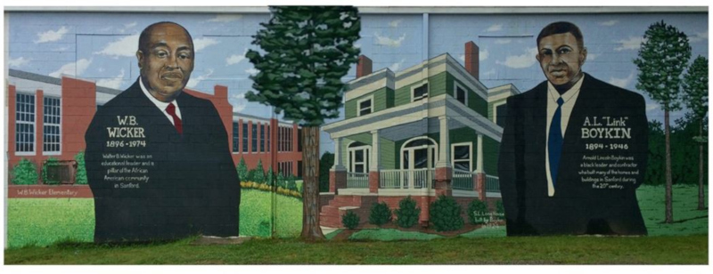 "Sandford, North Carolina Visionary Builders mural. Showing W.B Wicker and A.L. ""Link"" Boykin."