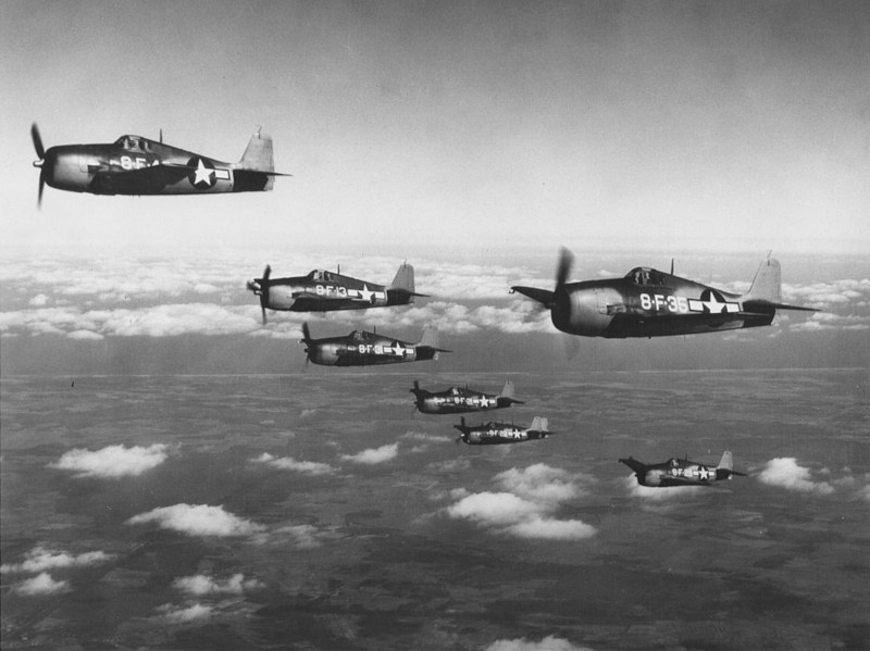 Watsonville Municipal Airport Hellcats of VF-8 in flight 1943.
