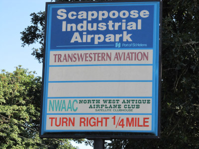 Scappoose Industrial Airpark sign.