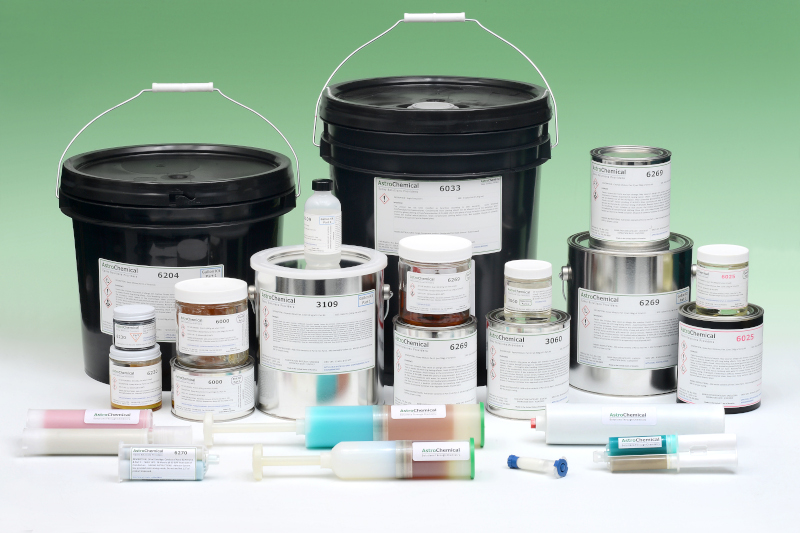 AstroChemical Company, Inc product lineup showing multiple sizes of containers for various products they offer. From a bucket down to a syringe.