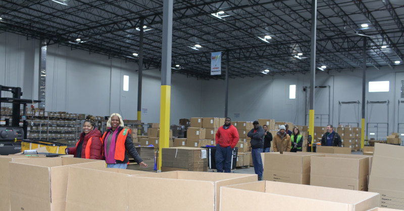 Future Forwarding Company warehouse view of employees.