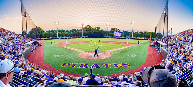 Greenville, North Carolina Pirates Baseball stadium view of the field from behind home plate.