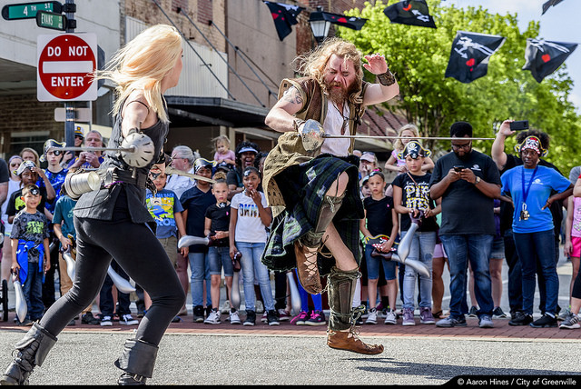 Greenville, North Carolina pirate fight on the streets.