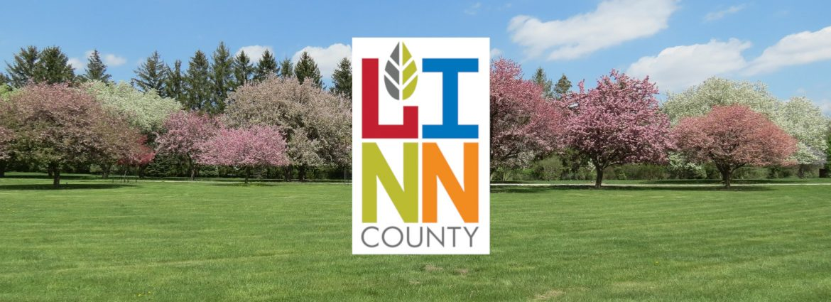 Linn County, IA park photo with the Linn County logo.