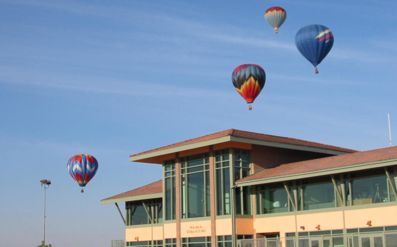 Paso Robles Municipal Airport; Hot air balloons over the terminal building.