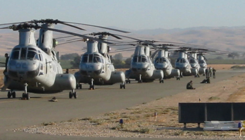 Paso Robles Municipal Airport; Helicopters on the runway for Military Ops.