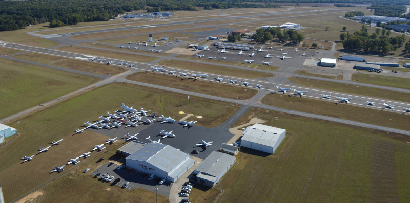 Tuscaloosa Regional Airport grounds aerial view.