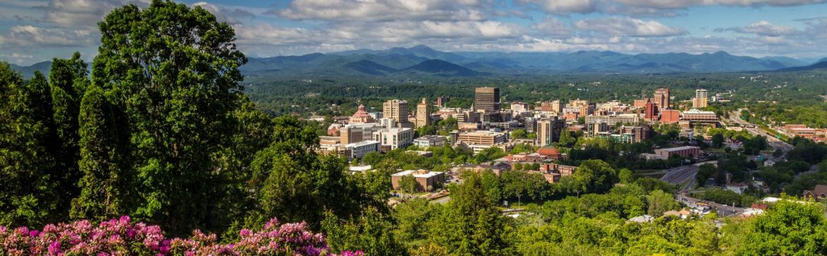 Asheville, North Carolina city from a nearby hilltop.