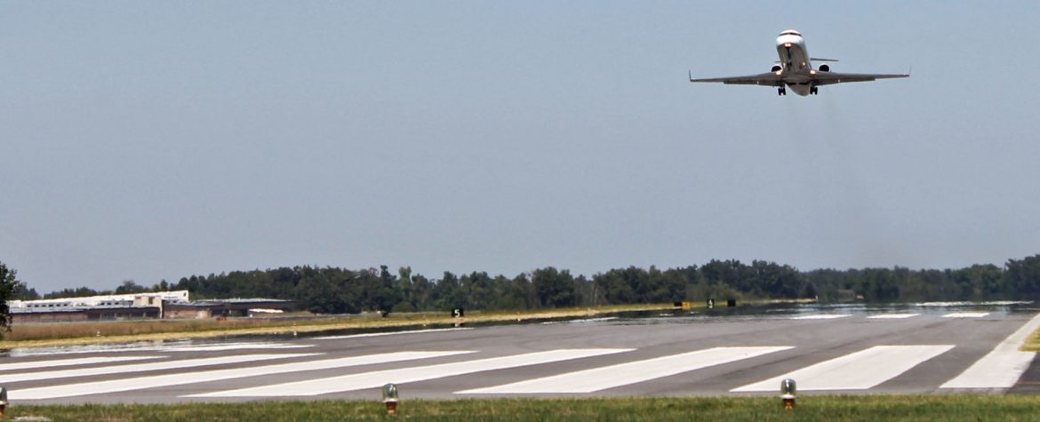 Barkley Regional Airport commercial jet taking off.