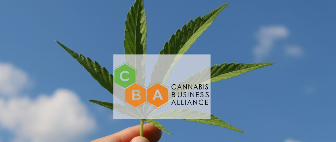 The Cannabis Business Alliance. A hemp leaf being held up by a hand with blue sky and white clouds behind. Over top is the CBA logo.