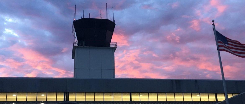 Columbus Airport terminal at dusk.