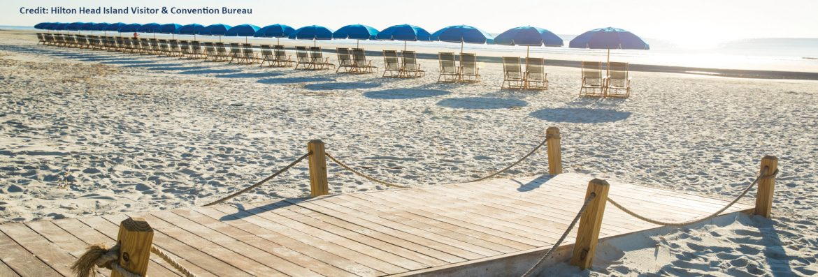 Hilton Head Island South Carolina beach view with a wooden walkway and chairs with blue umbrellas.