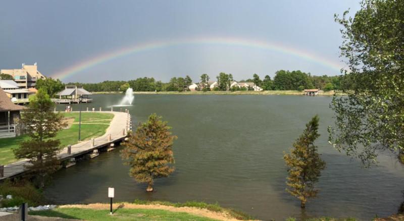 Maumelle, Arkansas rainbow over the water.