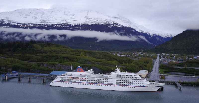 Port of Valdez cruise ship docked.