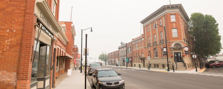 Lacombe, Alberta city street view.
