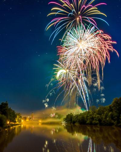 Logansport, Indiana fireworks display over a river.
