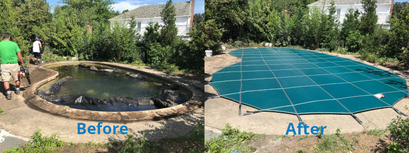Meyco Products | TopTec Products before and after shot of a pool cover installed.