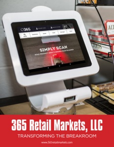 365 Retail Markets brochure cover showing an electronic point of sale system on a counter next to a rack of snacks.