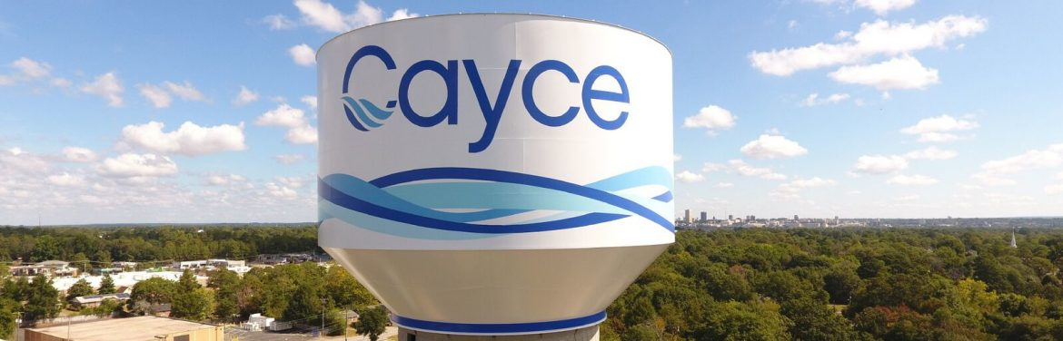 Cayce, South Carolina water tower with Cayce printed on it.