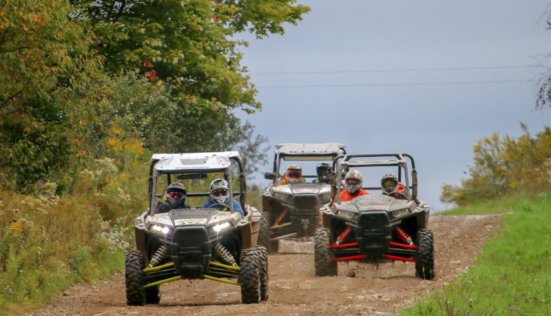 Allegany County, NY group of 3 ATVs on a trail.