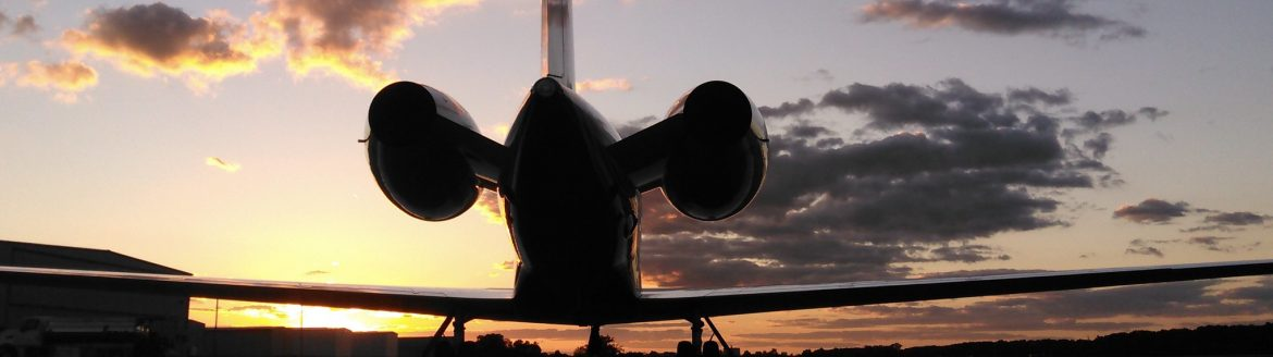 A gulfstream airplane during sunset at the Allen County Regional Airport.