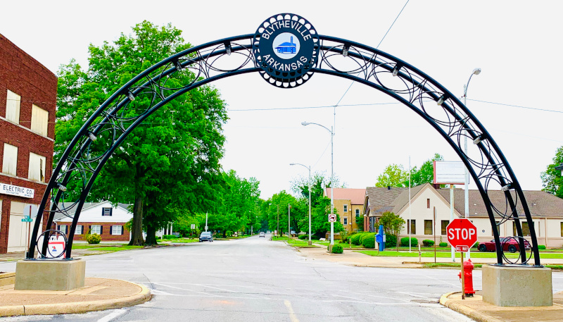 Blytheville, Arkansas restored archway to city.