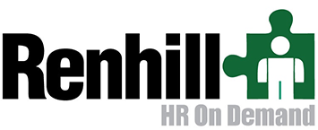 Renhill HR On Demand logo with a puzzle piece shape and a figure graphic.