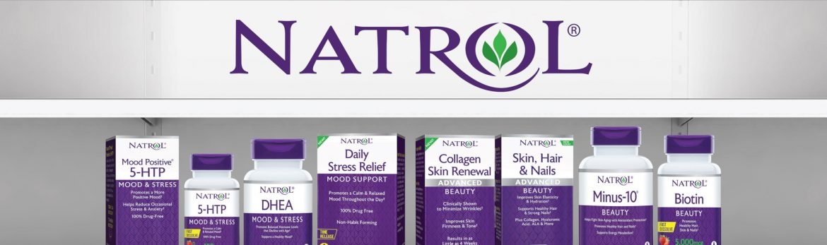 Natrol LLC product lineup and logo.