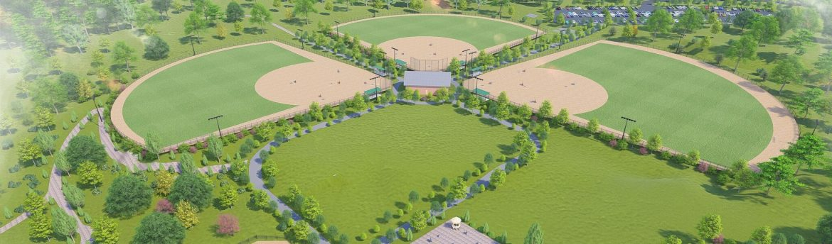Newberry, South Carolina, SC rendering of their new recreation center, showing mostly three baseball fields.