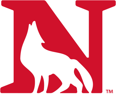 Newberry College, South Carolina logo with a red n and a wolf outline creating part the the N shape. Clicking this logo will take you to their website.