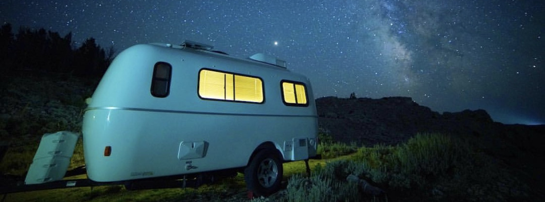 Casita Enterprises Trailer at night.