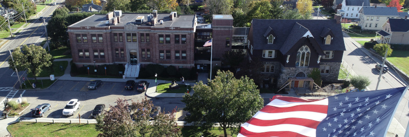 Mansfield, Massachusetts Town Hall aerial photo.