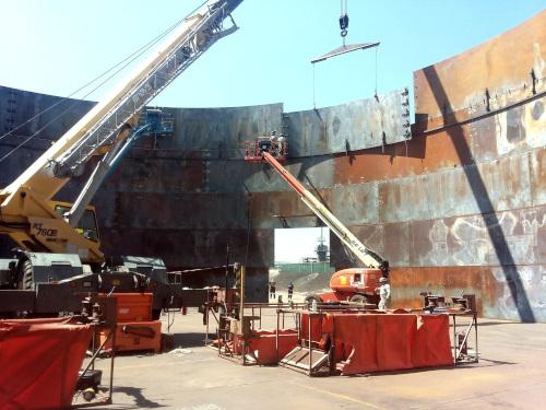 Phillips Tank & Structure welded steel tank under construction.