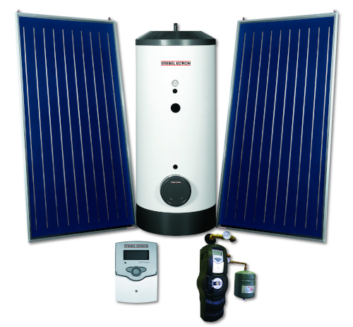Stiebel Eltron SOL kit showing a tank, two solar panels, a control panel and one other item.
