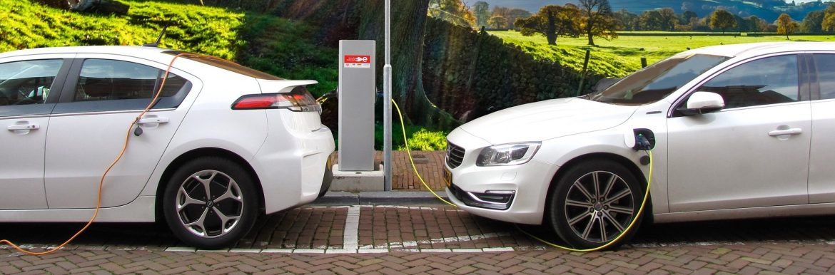 Two white cars plugged in to an EV charging station on a brick road with a tree behind them. Feature image for the Top Ten Sustainable Businesses in New Jersey.