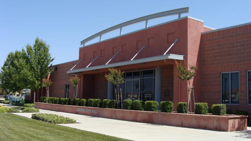 Lathrop, California city hall building.