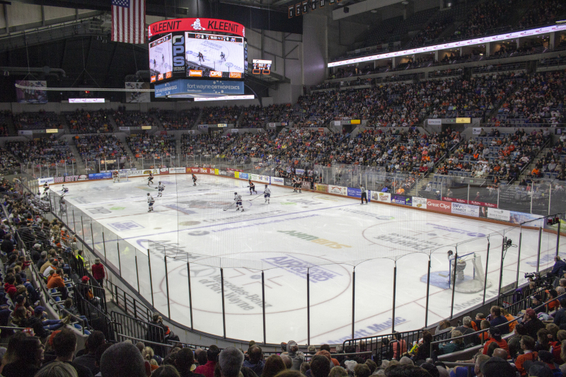 Allen County War Memorial Coliseum Komets opener hockey game.