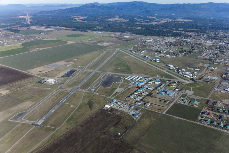 Coeur d'Alene Airport (Pappy Boyington Field) aerial view of runway and surrounding area.