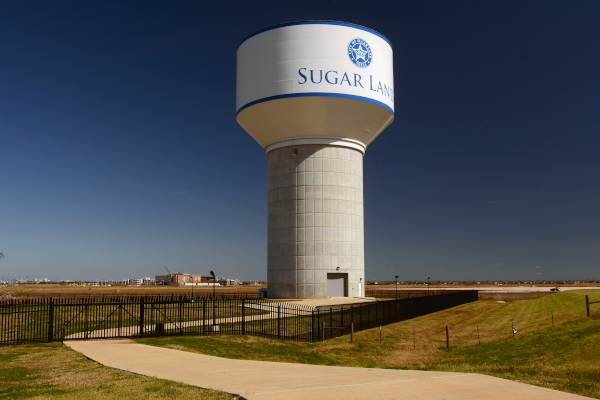 Phoenix Fabricators & Erectors example of work showing a complete water tower in Sugar Land, Texas.