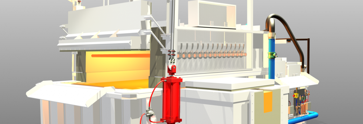 The Schaefer Group 3D rendering of an electric Melter Holder machine.
