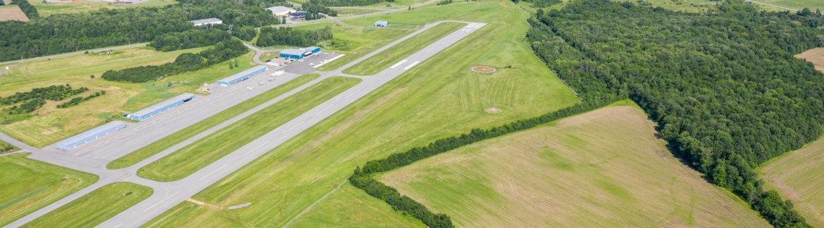 The Canandaigua Airport runway from the air, aerial view.