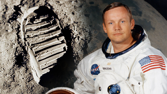 Auglaize County, Ohio Neil Armstrong photo with footprint from moon.