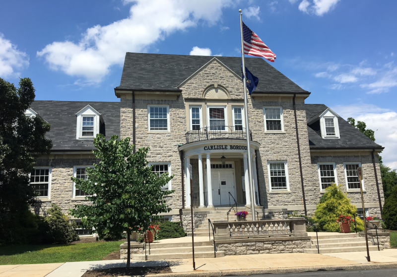 Borough of Carlisle, Pennsylvania, PA, city building with american flag.